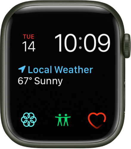 모듈 시계 페이스에서 시계 페이스 색상을 조절할 수 있음. 상단 근처에 시간과 날짜, 중간에 기상 상태 컴플리케이션이 있으며 하단에 표시된 하위 문자판 컴플리케이션으로 마음 챙기기, 심박수가 있음.