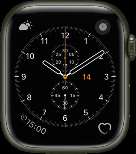 크로노그래프 시계 페이스에서 페이스 색상 및 다이얼 세부사항을 조절할 수 있음. 시계 페이스에 표시된 네 개의 컴플리케이션으로 왼쪽 상단에 기상 상태, 오른쪽 상단에 스톱워치, 왼쪽 하단에 타이머, 오른쪽 하단에 심박수가 있음.