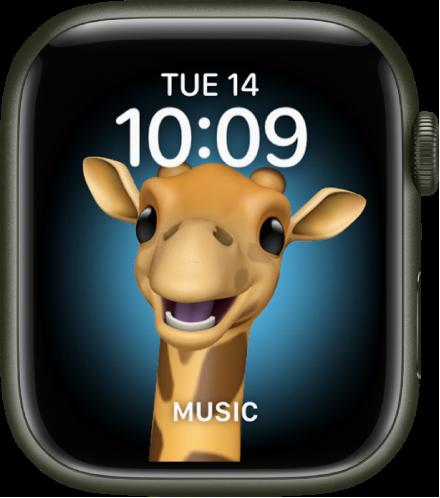 미모티콘 캐릭터와 하단 컴플리케이션을 조절할 수 있는 미모티콘 시계 페이스. 미모티콘을 움직이려면 디스플레이를 탭함. 상단에 날짜와 시간, 하단에 음악 컴플리케이션이 있음.