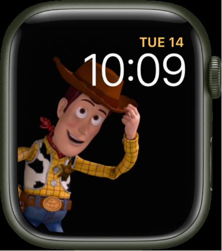 오른쪽 상단에 요일, 날짜와 시간을 표시하고 화면 왼쪽에 우디가 움직이는 토이 스토리 시계 페이스.