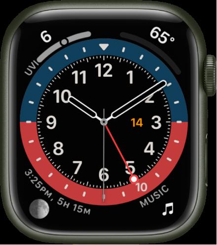 GMT 시계 페이스에서 페이스 색상을 조절할 수 있음. 시계 페이스에 표시된 네 개의 컴플리케이션으로 왼쪽 상단에 자외선 지수, 오른쪽 상단에 온도, 왼쪽 하단에 달, 오른쪽 하단에 음악이 있음.