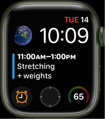 여러 개의 컴플리케이션이 표시된 인포그래프 모듈 시계 페이스. 왼쪽 상단에 지구 컴플리케이션, 시계 페이스 중앙에 캘린더 일정 컴플리케이션이 있으며 하단을 따라 나열된 하위 문자판 컴플리케이션으로는 알람, 나침반 및 기온이 있음.