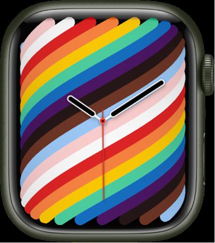전체 화면 스타일을 사용하는 프라이드 우븐 시계 페이스.