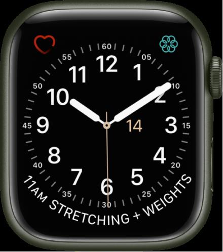 유틸리티 시계 페이스에서 초침 색상을 조절할 수 있으며 다이얼 숫자 및 세부사항을 조절할 수 있음. 나타나는 컴플리케이션으로는 왼쪽 상단에 심박수, 오른쪽 상단에 마음 챙기기, 하단에 캘린더 일정이 있음.