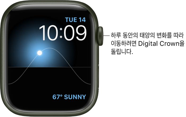 태양 그래프 시계 페이스는 요일, 날짜 및 현재 시간을 표시하며 수정할 수 없음. 날씨 컴플리케이션이 오른쪽 하단에 나타남. 하늘에 있는 태양을 황혼, 새벽, 중천, 석양 및 어둠으로 이동하려면 DigitalCrown을 돌림.