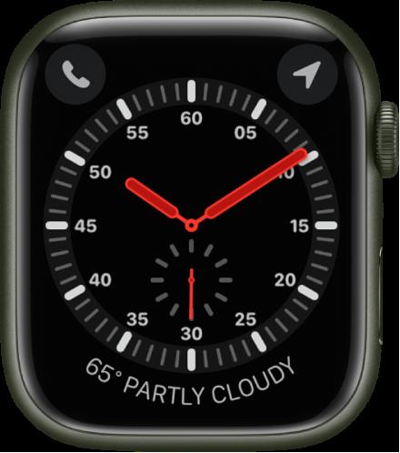 익스플로러 시계 페이스는 아날로그 시계임. 시계 페이스에 표시된 세 개의 컴플리케이션으로 왼쪽 상단에 전화, 오른쪽 상단에 나침반, 하단에 날씨가 있음.