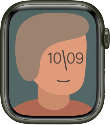 시간을 표시하는 아티스트 시계 페이스. 시계 페이스를 탭해 디자인을 바꿈.