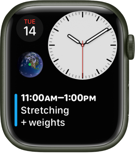오른쪽 상단에 아날로그 시계, 왼쪽 상단에 캘린더 컴플리케이션, 왼쪽 중앙에 천체 컴플리케이션, 하단에 캘린더 일정 컴플리케이션이 표시된 콤팩트 모듈 시계 페이스.
