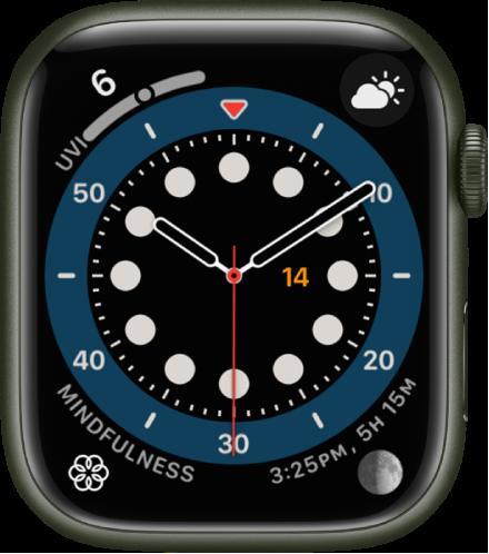 카운트업 시계 페이스. 시계 페이스에 표시된 네 개의 컴플리케이션으로 왼쪽 상단에 자외선 지수, 오른쪽 상단에 기상 상태, 왼쪽 하단에 마음 챙기기, 오른쪽 하단에 달이 있음.