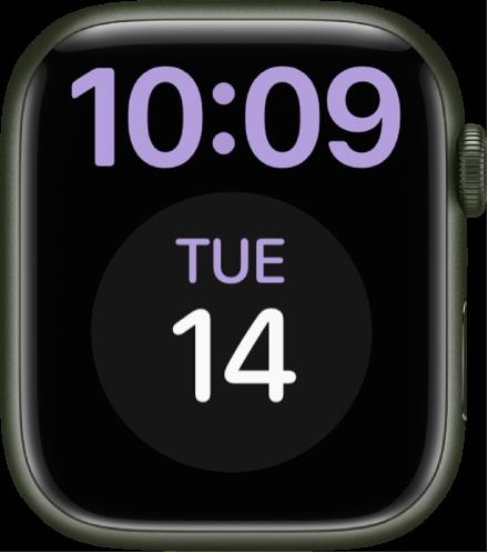 큰글자 시계 페이스는 상단에 디지털 포맷으로 시간을 표시함. 아래에 큰 캘린더 컴플리케이션이 있음.