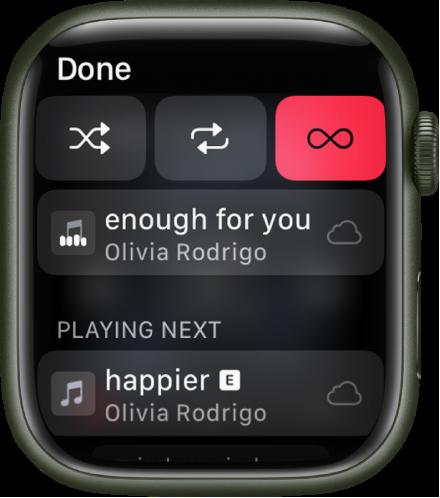 """Garso takelių sąrašo langas su """"Shuffle"""", """"Repeat"""" ir """"Auto Play"""" mygtukais viršuje ir vienu garso takeliu apačioje. Netoli apačios, žemiau """"Playing Next"""" atsiranda kitas garso takelis. Viršuje kairėje pateiktas mygtukas """"Done""""."""