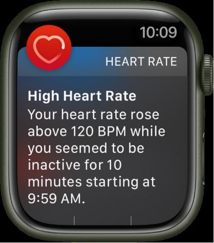 Skrin Kadar Jantung Tinggi menunjukkan pemberitahuan yang kadar jantung anda meningkat melebihi 120 BPM semasa anda tidak aktif selama 10 minit.