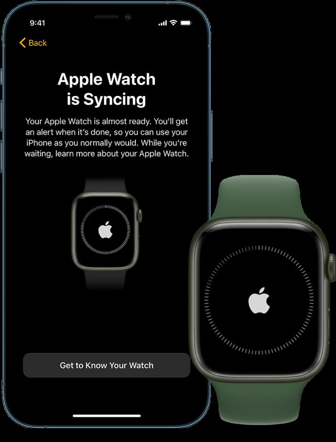 Een iPhone en een AppleWatch met synchronisatieschermen.