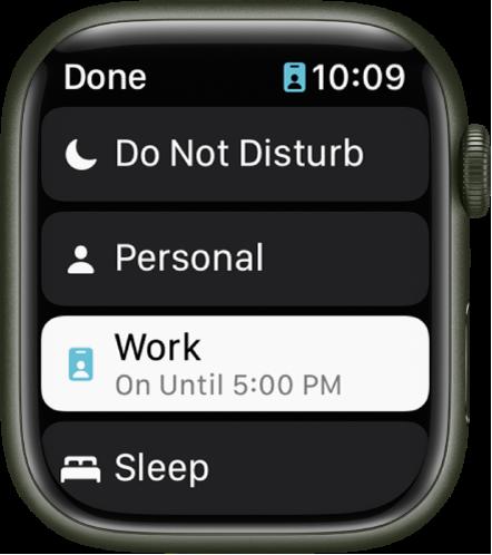 Fokuslistan visar Stör ej, Egentid, Arbete och Sover. Fokusläget Arbete är aktivt.