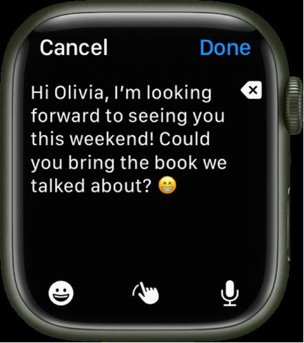 Ett textinmatningsfält med text och en emoji nära överkanten. Längst ned finns knapparna för emojier, handskrift och diktering.