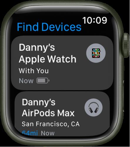 Appen Hitta enheter med två enheter – en Apple Watch och ett par AirPods.