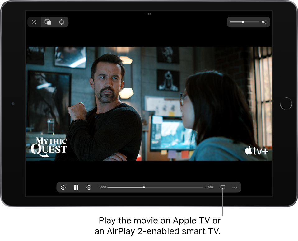 A movie playing on the iPad screen. At the bottom of the screen are the playback controls, including the AirPlay button near the bottom right.