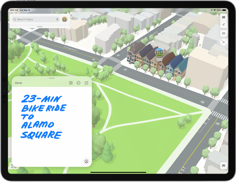 A Quick Note in the bottom-left side of map open in the Maps app.