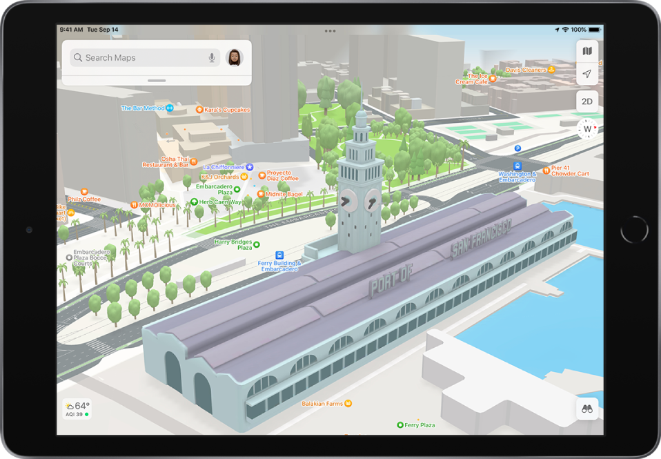 A 3D street map showing buildings, streets, and a park.