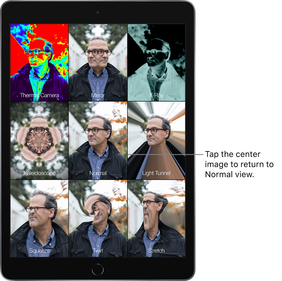 A Photo Booth screen showing nine views of a man's face with different effects in separate tiles. In the top row, left to right, are the Thermal Camera, Mirror, and X-Ray effects. In the middle row, left to right, are the Kaleidoscope, Normal, and Light Tunnel effects. In the bottom row, left to right, are the Squeeze, Twirl, and Stretch effects.