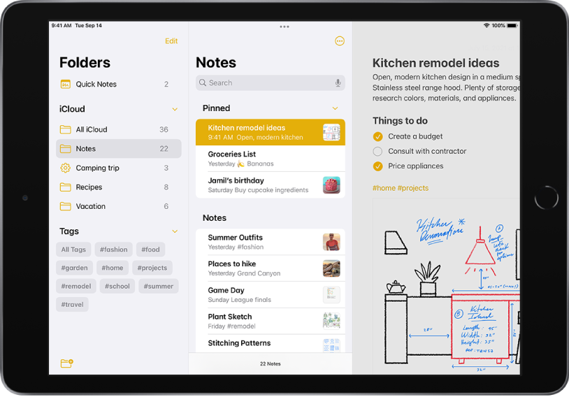iPad in landscape orientation with the Notes app open. On the left-side of the screen, from top to bottom, are: Folders, iCloud, and Tags. The search field is at the top-center of the screen followed by Pinned and Notes. A note is open on the right-side of the screen.