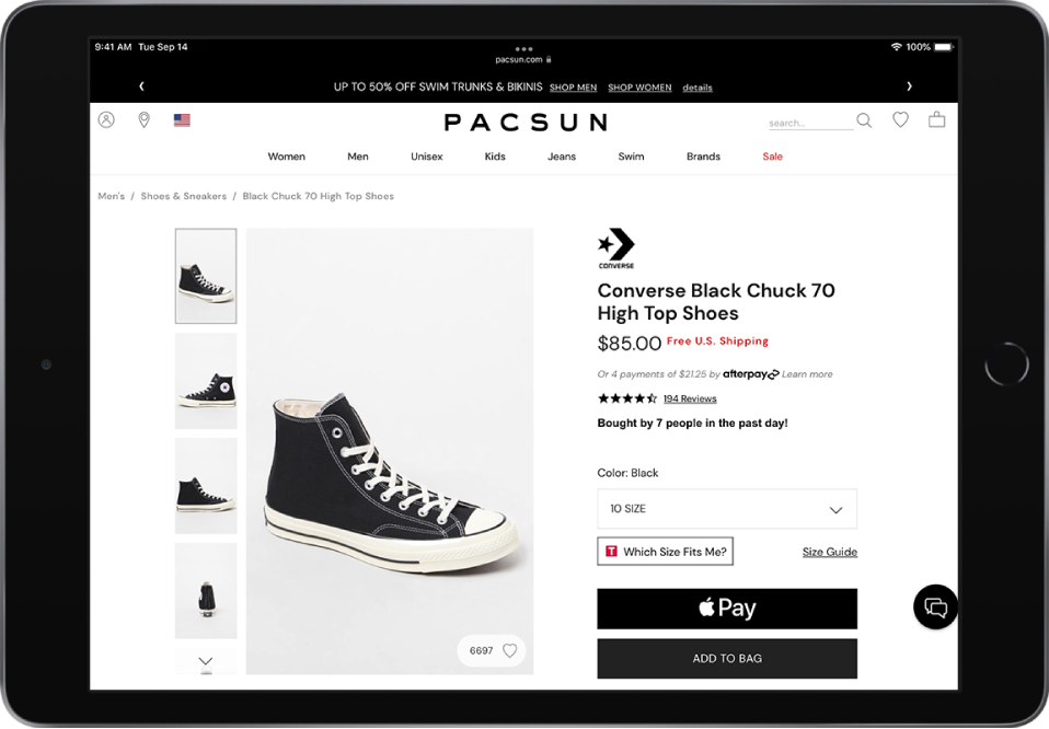 A product webpage with the Apple Pay button at the bottom right.