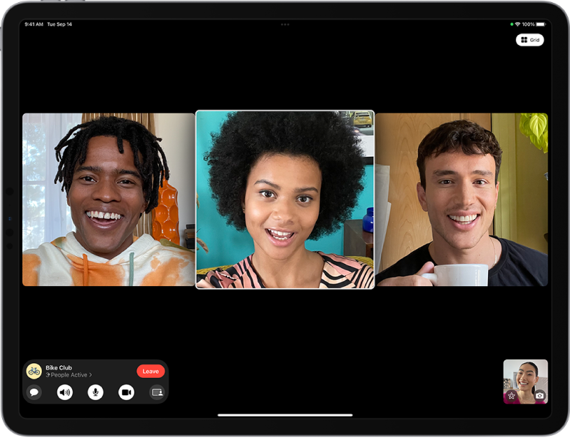 A Group FaceTime call in the FaceTime app.