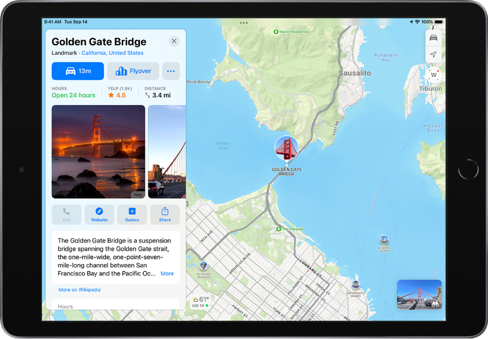 A map showing the Golden Gate Bridge. On the left side of the screen, an information card for the Golden Gate Bridge shows a Flyover button below a Directions button.