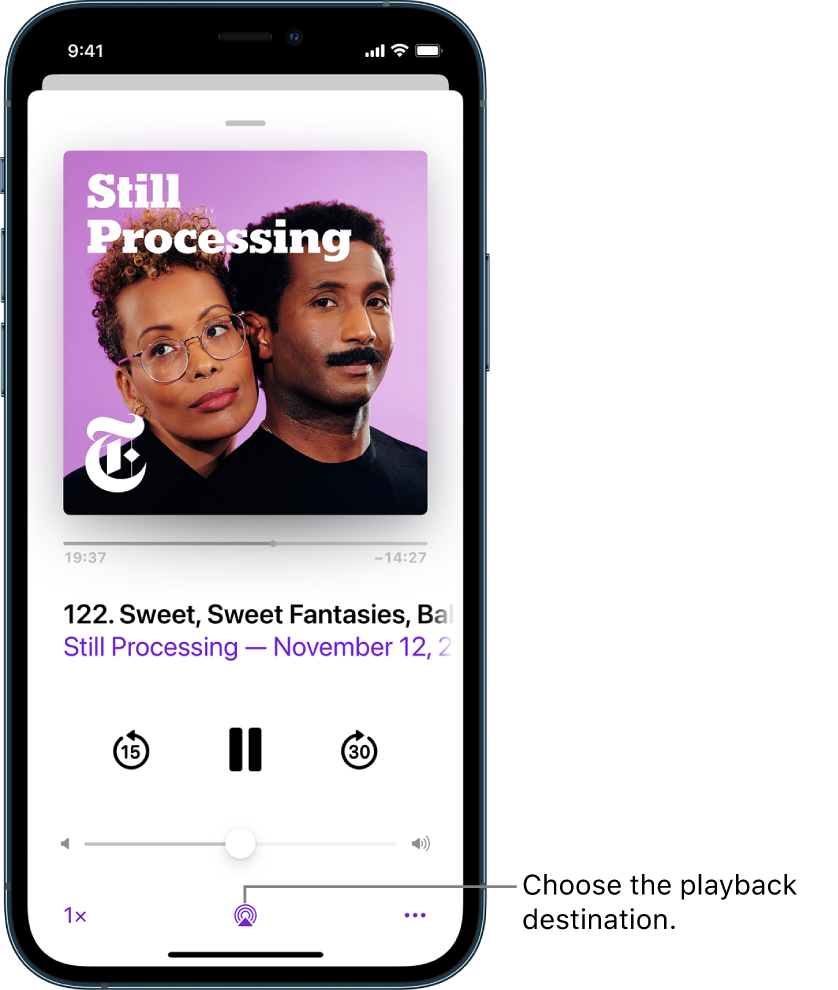 The playback controls for a podcast, including the Playback Destination button at the bottom of the screen.