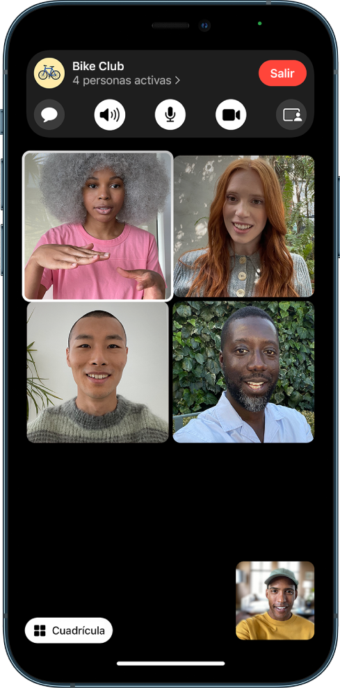 Llamada grupal de FaceTime en la visualización de cuadrícula. Cada participante está en un cuadro del mismo tamaño y el cuadro de la persona que está hablando está resaltado.