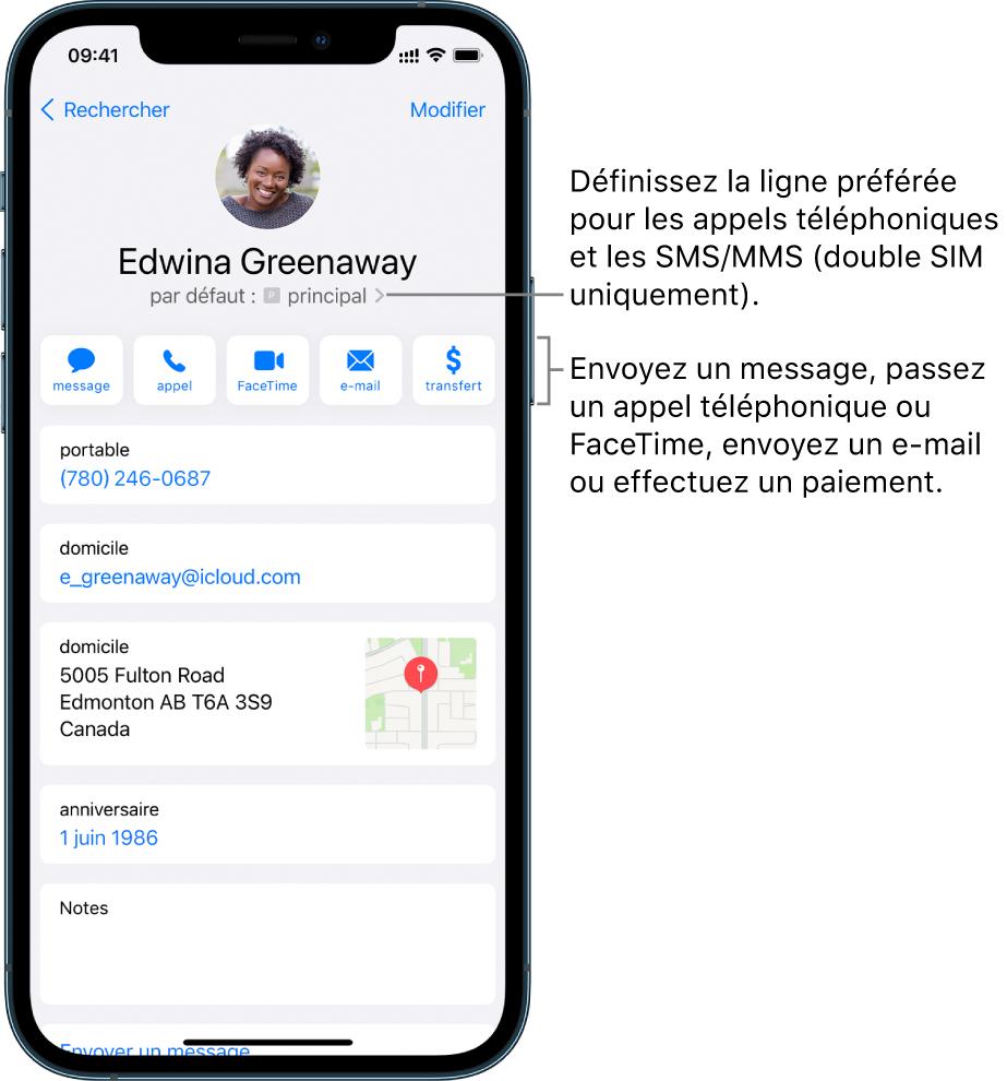L'écran Infos pour un contact. Le nom et la photo du contact se trouvent en haut. En dessous se trouvent les boutons pour envoyer un message, passer un appel, passer un appel FaceTime, envoyer un message par e-mail et envoyer de l'argent via ApplePay. Sous les boutons se trouvent les coordonnées du contact.