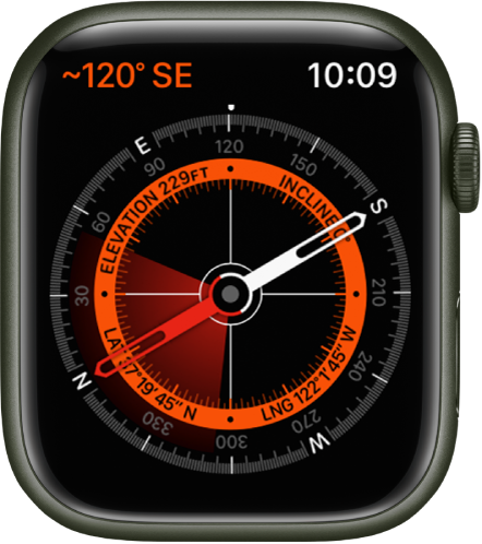 The Compass app. At the top left is the bearing. The inner circle displays elevation, incline, latitude, and longitude. White crosshairs appear pointing north, south, east, and west.