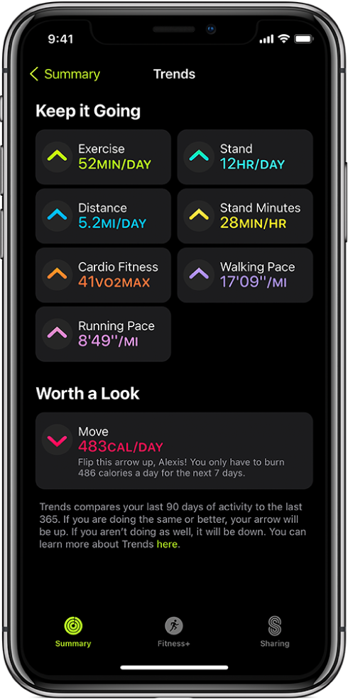 The Trends tab in the Activity app on iPhone. A number of metrics appear under the Trends heading near the top of the screen. Metrics include Exercise, Stand, Distance, and more. Move appears under the Worth a Look heading.