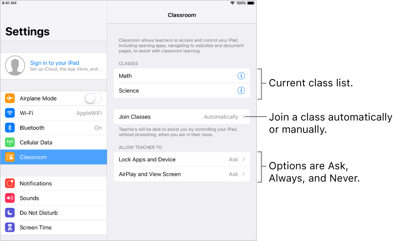 shows setting in the Apple Classroom app