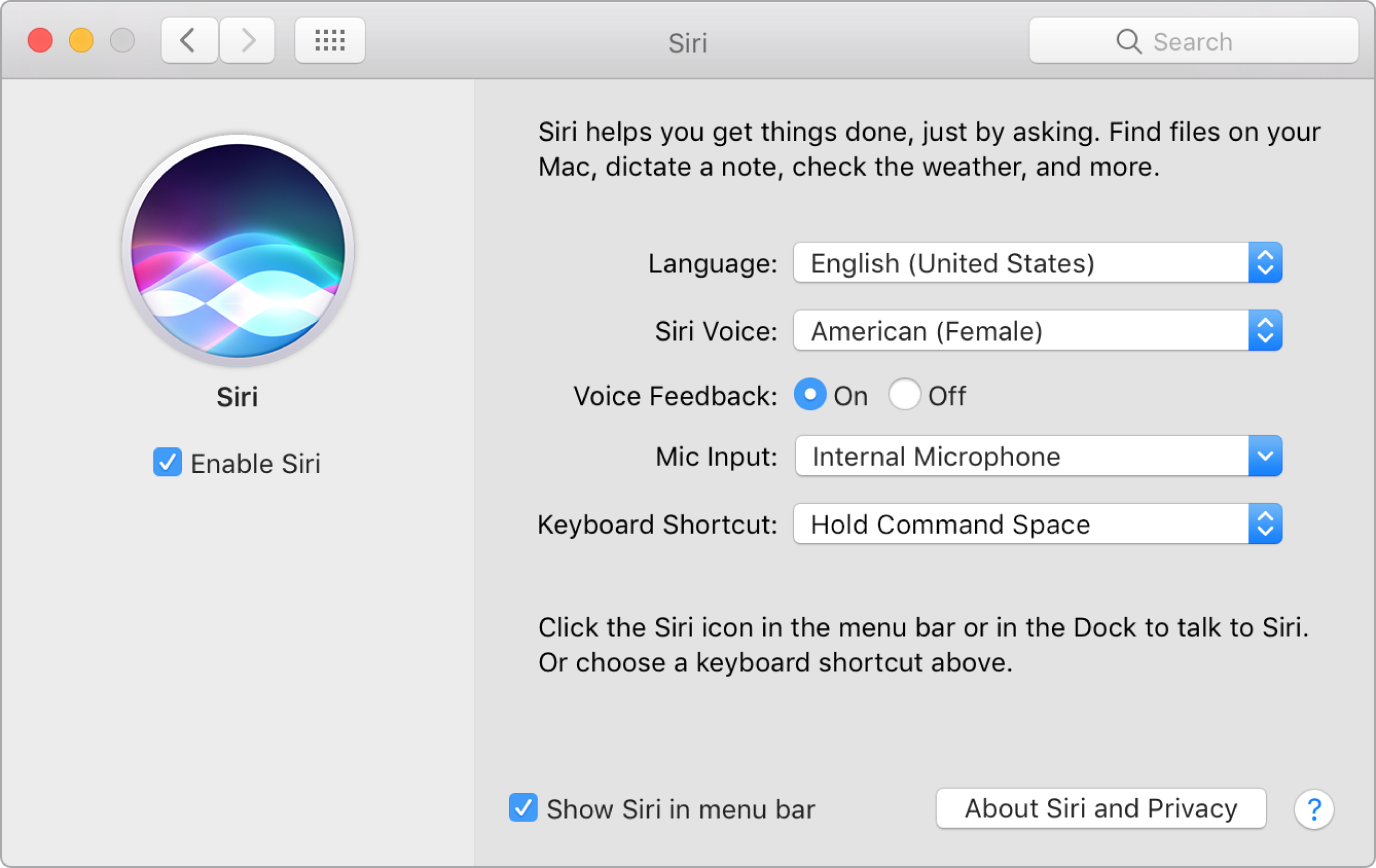 The Siri preferences window with Enable Siri chosen on the left and several options for customizing Siri on the right.