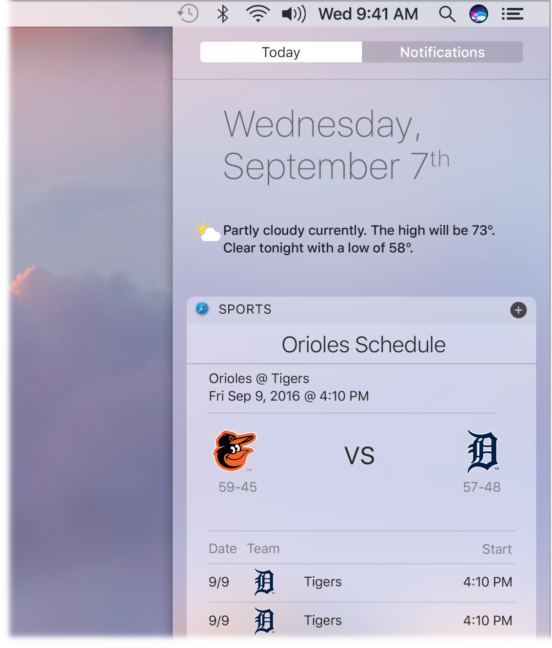 A partial desktop screen showing the Notification Center open and the Today tab selected.