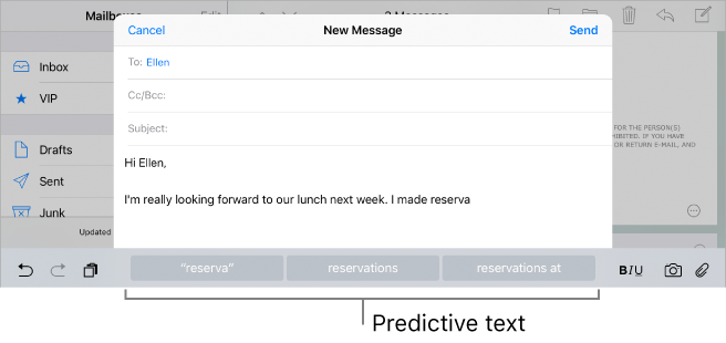 Shows where predictive text options are when using the onscreen keyboard