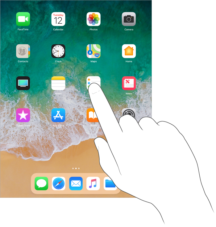 Finger touching the home screen