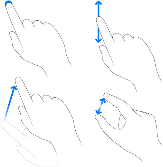 Showing gestures and finger swipes
