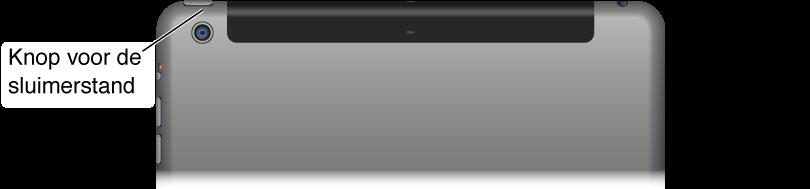 De voorkant van de iPad met onderaan de thuisknop en de sluimerknop rechtsboven op de rand.