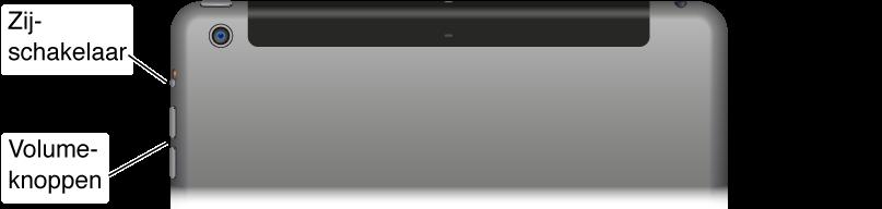 Het bovenste gedeelte van de iPad met een close-up van de volumeknoppen en de zijschakelaar.
