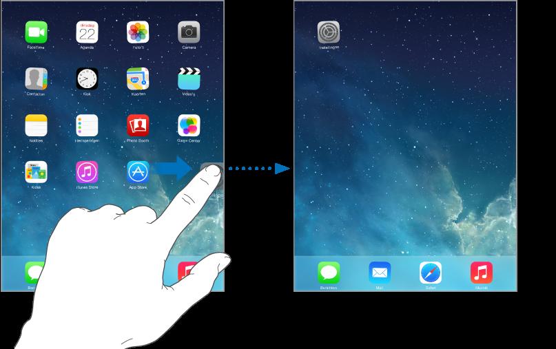 Een symbool dat aan de rechterkant van het scherm naar het volgende beginscherm wordt gesleept.