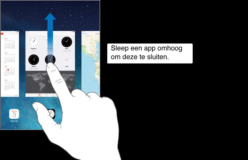 Veeg een app in de multitaskingweergave omhoog om de app te sluiten.