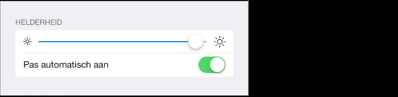 Schuifknop voor de helderheid en aan/uit-schakelaar voor het automatisch aanpassen van de helderheid.