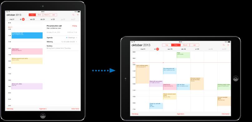iPad in staande weergave en een iPad die in liggende weergave is gedraaid.