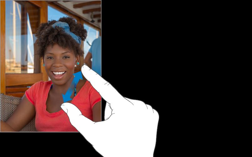 Een duim en wijsvinger die van elkaar af bewegen en zo inzoomen op een foto.