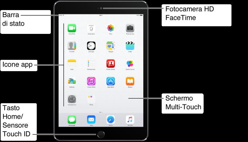 L'immagine mostra la parte anteriore di un iPadmini. Da destra a sinistra sono visibili la fotocamera FaceTime, lo schermo Multi-Touch, il tasto Home, le icone applicazione e la barra di stato.