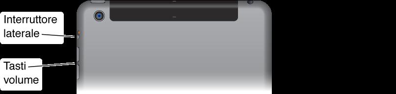 La parte superiore di iPad con un primo piano dei tasti del volume e dell'interruttore laterale.