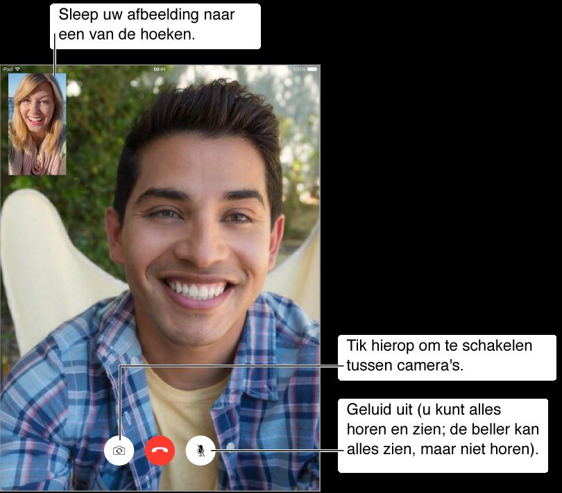 Scherm waarin een FaceTime-videogesprek wordt gevoerd. In de linkerbovenhoek ziet u een kleine afbeelding van de persoon die het gesprek voert. Onder in het scherm bevinden zich de knop voor het uitschakelen van het geluid van de microfoon, de knop voor het beëindigen van een gesprek en de cameraknop.