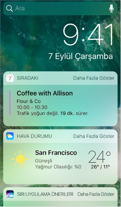 Sıradaki, Hava Durumu ve Siri Uygulama Önerileri araç takımlarının gösterildiği Bugün Görüntüsü.